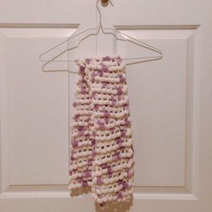 Accessories - Purple & White Handmade Yarn Scarf